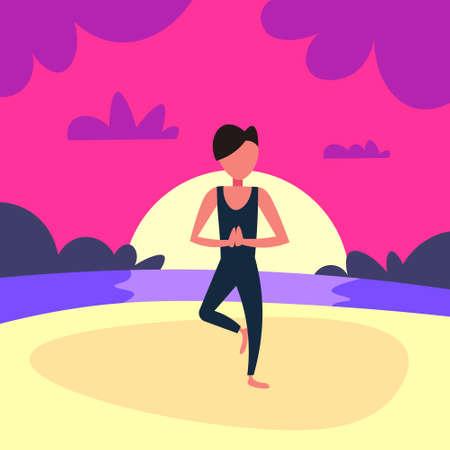 man doing yoga exercises sunset beach background male sport activity cartoon character full length flat vector illustration  イラスト・ベクター素材