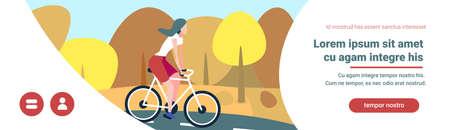 woman cyclotourisme autumn landscape background female sport activity cartoon character banner copy space full length flat vector illustration