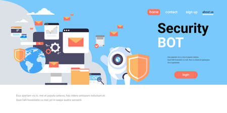 security protection bot shield database protection app access concept horizontal flat global copy space vector illustration