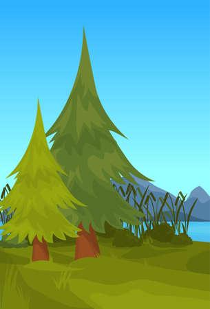 landscape spruce mountain river reed outdoor nature background flat vertical vector illustration Ilustração