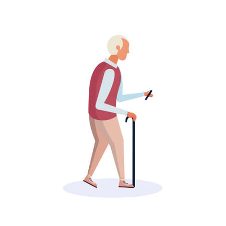old man walking stick using smartphone elderly grandfather walk isolated cartoon character full length flat vector illustration