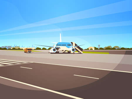 Airport terminal aircraft flying plane taking off waiting to board passengers cityscape background flat horizontal vector illustration