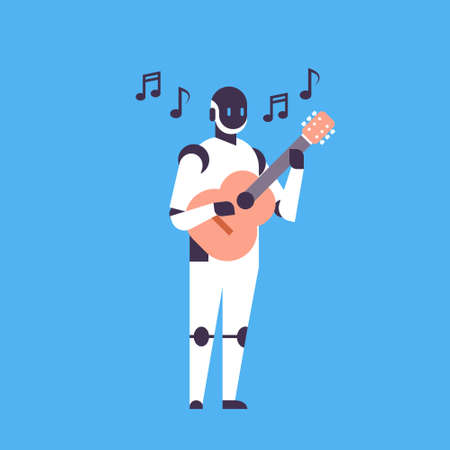 Modern robot playing guitar music helper bot artificial intelligence technology concept blue background flat vector illustration