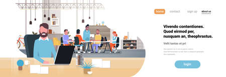 man boss workplace over casual team brainstorming meeting group people sitting together office communication flat horizontal banner copy space vector illustration