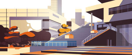 modern office building stairs exterior view over skyscraper buildings cityscape background horizontal flat vector illustration 向量圖像