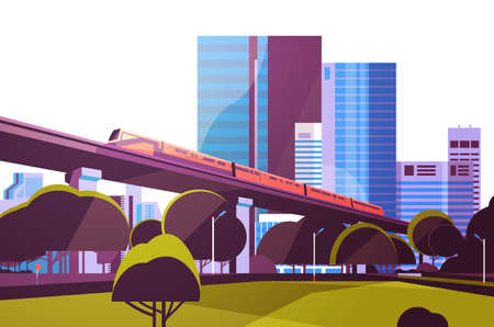 Subway monorail over city skyscraper view cityscape background skyline flat horizontal vector illustration