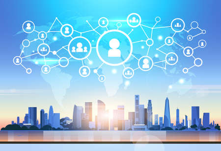 world map futuristic user profile icon interface social media network connection concept cityscape background flat horizontal vector illustration