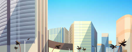 skyscraper buildings view modern cityscape downtown horizontal banner flat vector illustration  イラスト・ベクター素材