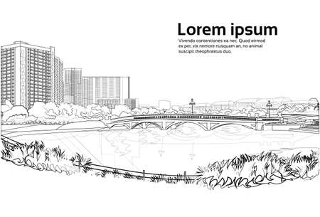 stone bridge over river cityscape white background city buildings landscape view horizontal copy space vector illustration Illustration