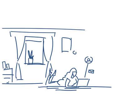 woman using laptop lying pose online communication concept chat messenger application sketch doodle horizontal vector illustration Векторная Иллюстрация