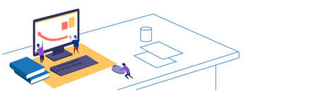 financial graph arrow up people working together using magnifier teamwork concept workspace sketch doodle horizontal banner vector illustration