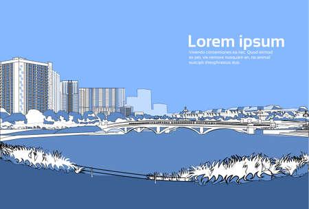 stone bridge over river cityscape blue background city buildings landscape view horizontal copy space vector illustration Illustration