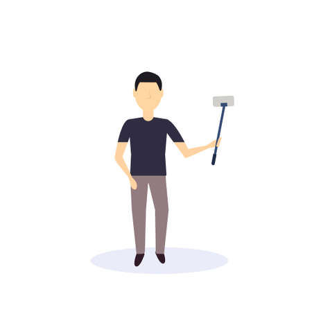 brunette man doing selfie self stick standing pose isolated faceless silhouette male cartoon character full length flat vector illustration