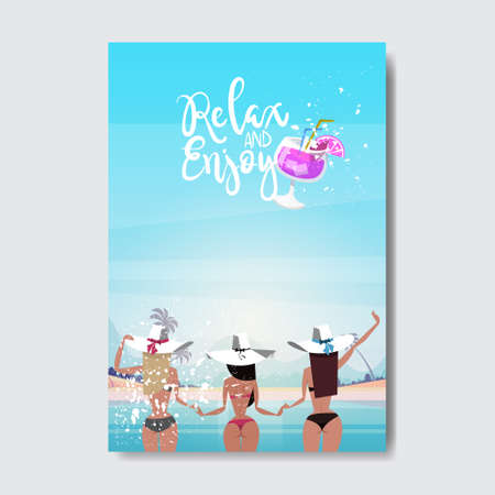 sexy woman holding hands up looking sunset beach rear view booty bare ass bikini summer vacation badge Design Label. Season Holidays lettering for logo Templates invitation greeting card prints and posters vector illustration