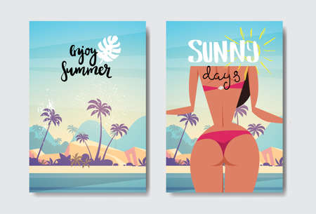 set tropical rear view sexy woman relax sunny beach booty bare ass bikini summer vacation badge Design Label. Season Holidays lettering for logo Templates invitation greeting card prints and posters vector illustration
