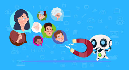 robot hold magnet mix race chat bubbles,artificial intelligence support virtual assistance of website or mobile applications, pulling concept flat Vector Illustration