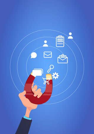 hand hold magnet communication icon pulling. chat support processing concept over blue background flat design vector illustration Illustration