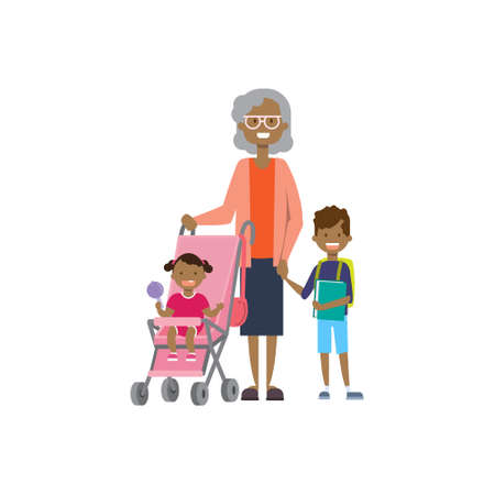 african grandmother with baby grandchildren in stroller, multi generation family, full length avatar on white background, successful family concept, tree of genus flat cartoon design vector illustrati  イラスト・ベクター素材