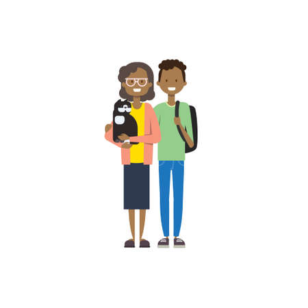 african parents with pets couple , full length avatar on white background, successful family concept, tree of genus flat cartoon design vector illustration