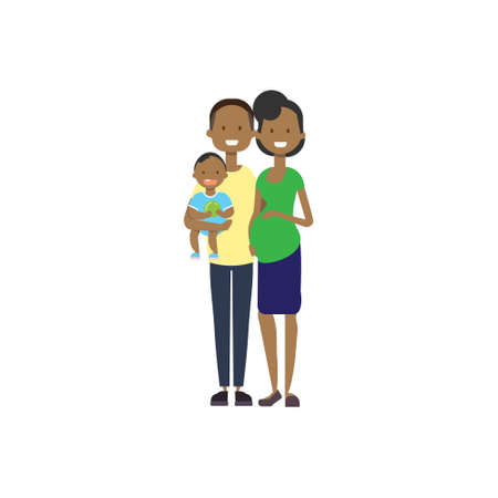african pregnant mother father hold baby son full length avatar on white background, successful family concept, flat cartoon vector illustration Ilustração