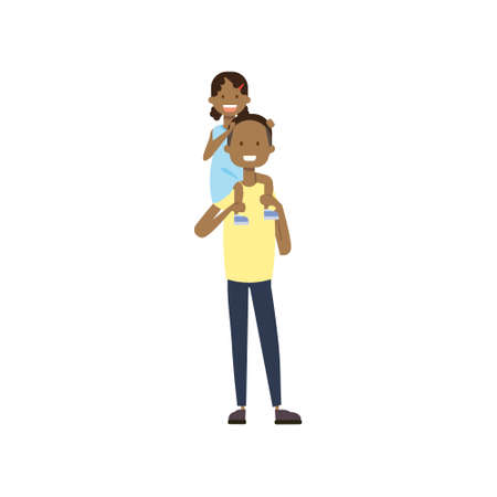 african father hold baby girl on neck full length avatar on white background, successful family concept, flat cartoon vector illustration