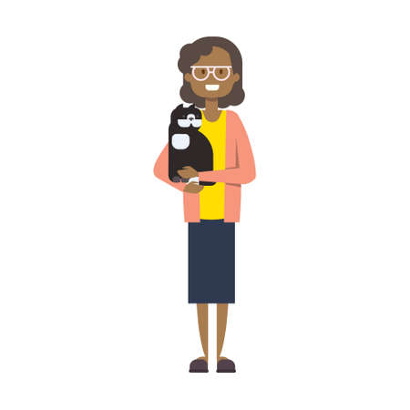 african woman with pets , full length avatar on white background, successful family concept, tree of genus flat cartoon design vector illustration