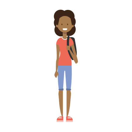 african girl with backpack , full length avatar on white background, successful study concept, flat cartoon design vector illustration