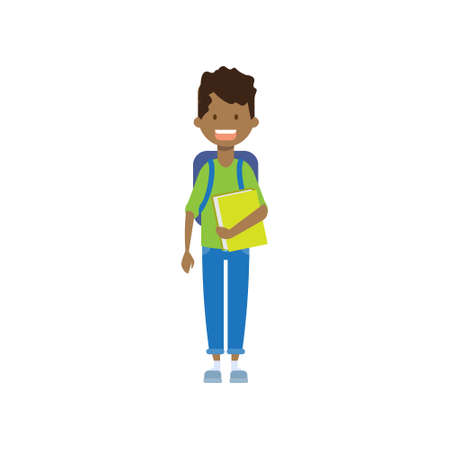 african school boy with book , full length avatar on white background, successful study concept, flat cartoon design vector illustration