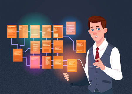 businessman with laptop over site map suitable for info graphics, websites and print media and interfaces on dark background, Wireframe Structure Layout, website flowchart concept vector illustration Illustration