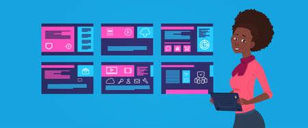 Soporte de protección de datos Centro informático ingeniero de mujer africana con servidores de alojamiento infografía, red y base de datos, centro de Internet, soporte de comunicación, ilustración vectorial de diseño plano Ilustración de vector