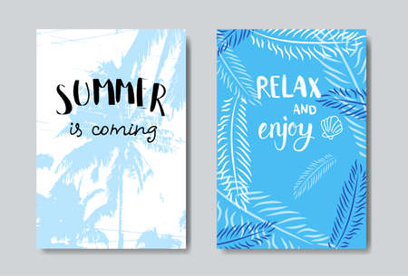 set summer palm badge Isolated Typographic Design Label. Season Holidays lettering  ,Templates, invitation, greeting card, prints and posters. vector illustration Illustration