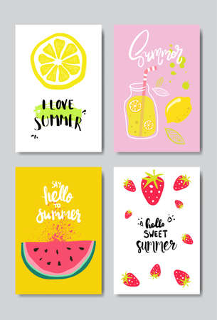 set summer fruits badge Isolated Typographic Design Label. Season Holidays lettering  ,Templates, invitation, greeting card, prints and posters. vector illustration