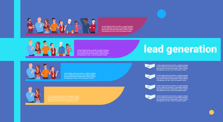 people lead generation steps stages business infographic. colorful diagram concept over white background copy space flat design vector illustration