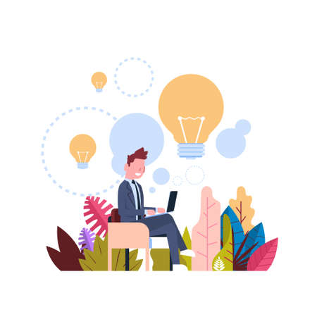 new idea concept over light lamp background businessman generate laptop office desk flat vector illustration