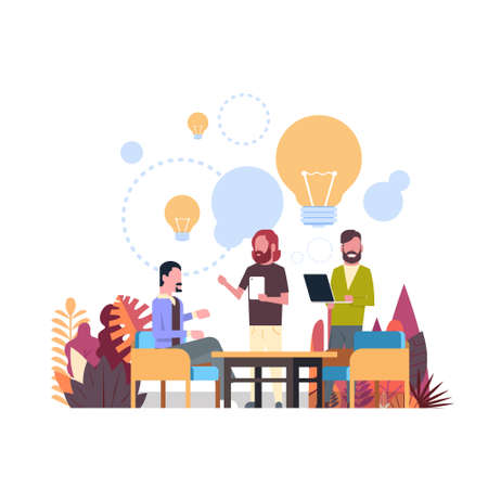 new idea concept over light lamp background business people relationships gadgets office desk flat vector illustration