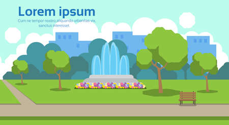 city park view outdoor fountain wooden bench green lawn trees template landscape background horizontal copy space flat vector illustration Vector Illustration