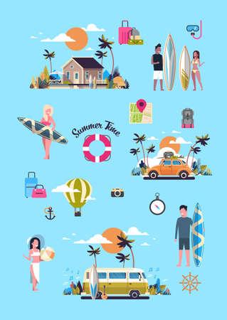 Définir des vacances d'été bus de surf coucher de soleil plage tropicale voiture rétro homme femme planche de surf villa carte de voeux vintage vertical avec lettrage modèle affiche illustration vectorielle plane