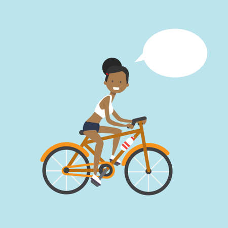 african american woman cycling chat bubble character full length over blue background flat vector illustration