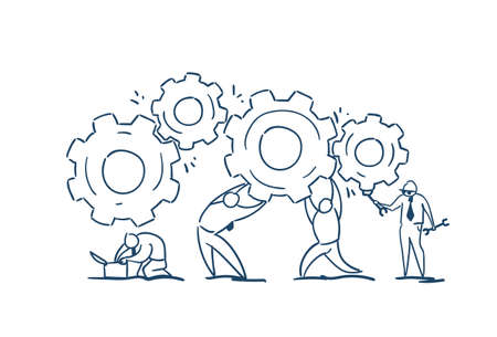 Business people group twisting gear wheel working together process strategy concept sketch doodle vector illustration