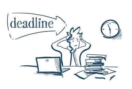 confused businessman holding head tired deadline solve problems concept hard working process white background sketch doodle vector illustration