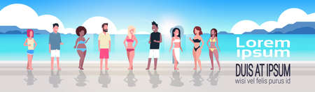 mix race people group on sunrise beach seaside vacation summer holiday horizontal banner copy space flat vector illustration Ilustración de vector