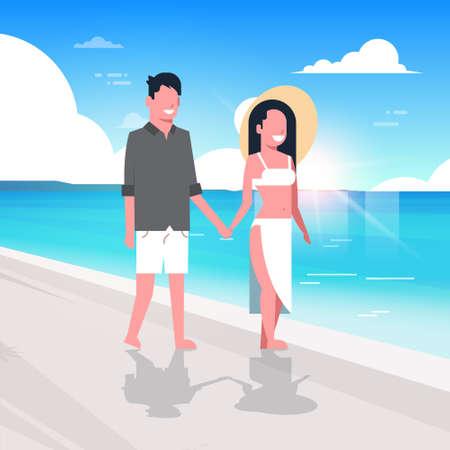 couple man woman sunrise beach summer vacation smiling walking seaside sea ocean flat vector illustration Stock Illustratie