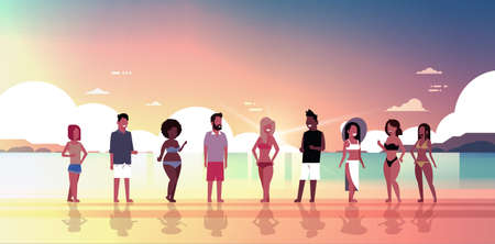 mix race people group on sunset beach seaside vacation summer holiday horizontal flat vector illustration