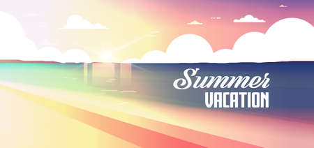 sunset beach view summer vacation seaside sea ocean flat banner lettering vector illustration