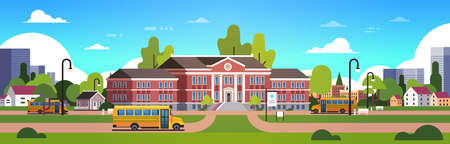 yellow bus in front of school building yard pupils transport concept 1 september cityscape background banner flat vector illustration 일러스트