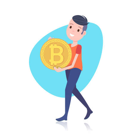 smiling man character holding bitcoin mining crypto currency template for design work or animation over white background full length flat vector illustration Illustration