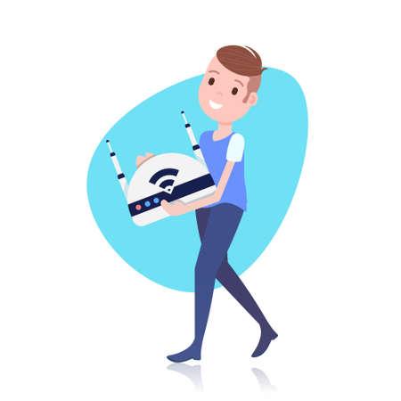 Personaggio sorridente che tiene in mano un modello di controller drone wireless per lavori di progettazione o animazione su sfondo bianco illustrazione vettoriale piatta a tutta lunghezza Vettoriali