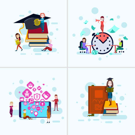 set diversity boy girl character education concepts male female template for design work and animation on white background full length flat vector illustration