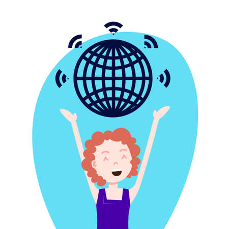 woman character holding world globe wireless over head template for design work or animation over white background portrait flat vector illustration Illustration