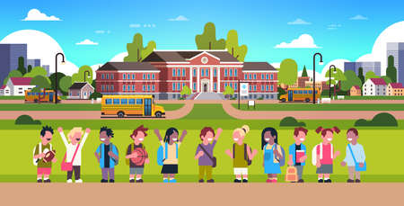 mix race pupils over yellow bus school building exterior girl boy transport concept 1 september flat horizontal vector illustration